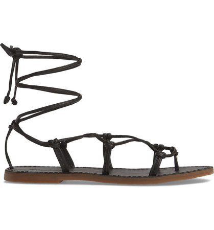 Madewell The Boardwalk Lace-Up Sandal (Women) Black