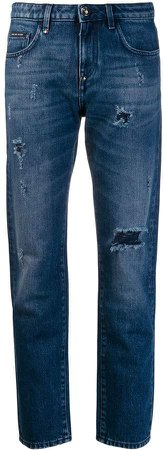 low rise distressed straight jeans