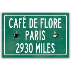 (197) Pinterest - Paris decor, miles to Paris, Cafe de Flore print, Paris poster,... ❤ liked on Polyvore featuring home, home decor, wall art, fre | Collectedfab