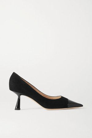 Rene 65 Suede And Patent-leather Pumps - Black