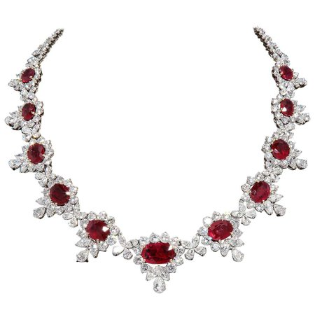 Ruby and Diamond Necklace For Sale at 1stDibs