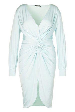 Plus Twist Front Plunge Midi Dress | boohoo