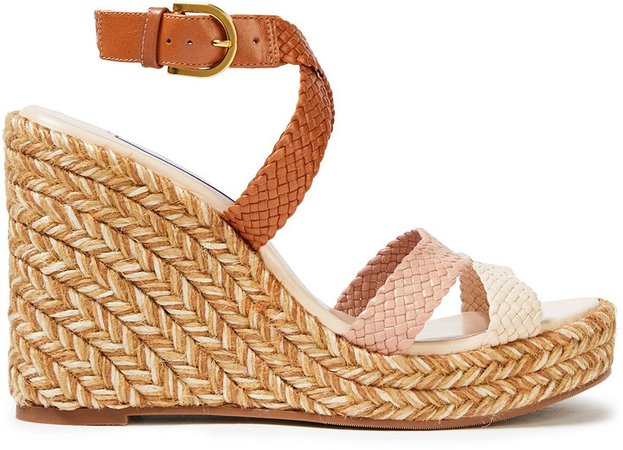 Color-block Woven Leather Espadrille Wedge Sandals
