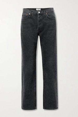 Lana Mid-rise Straight-leg Jeans - Black
