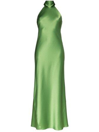 Green Galvan Halterneck Long Gown | Farfetch.com