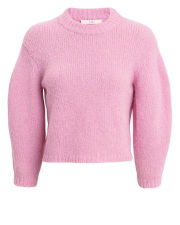 Women's Pink Cropped Fashion Sweater | Tibi