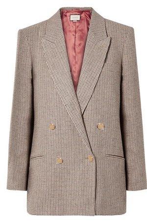 Gucci | Houndstooth checked linen blazer | NET-A-PORTER.COM