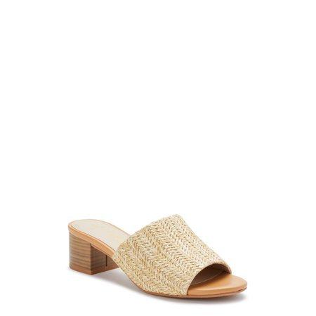 Melrose Ave - Melrose Ave Vegan Raffia Block Heel Slide Sandal (Women's) - Walmart.com