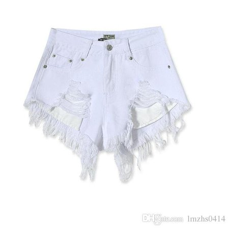 2019 Fashion Cotton Hot Denim Shorts Women Sexy Hole White Frayed Edges High Waist Short Jeans 2017 Casual Pockets Ripped Shorts From Lmzhs0414, $27.73   DHgate.Com