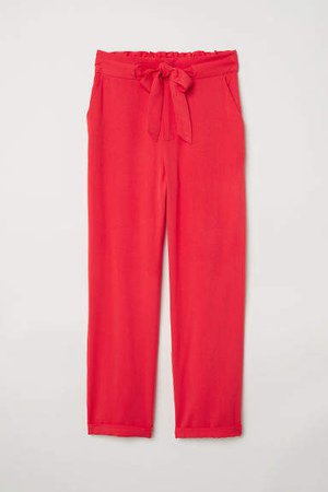 Paper-bag Pants - Red