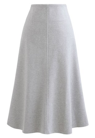 Seamed Detail Wool-Blend Flare Skirt - Retro, Indie and Unique Fashion