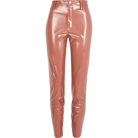 Beige vinyl super fitted trousers | River Island