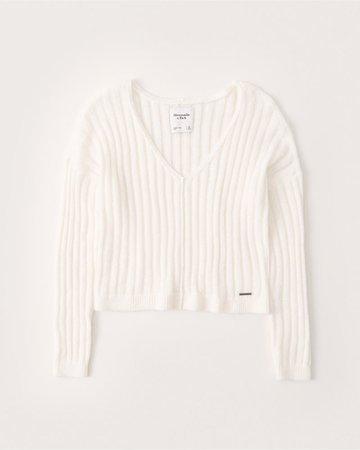 Womens Boxy V-Neck Sweater | Womens Tops | Abercrombie.com