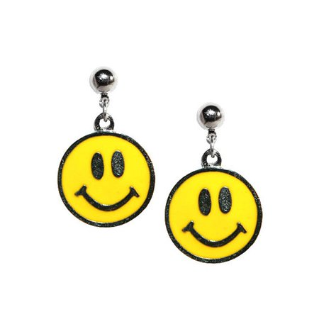 90s Happy Face Earrings- Smiley face Happy Face 1990s fashion nostalgia smiley face happy face 90s grunge dead stock 90s vintage jewelry