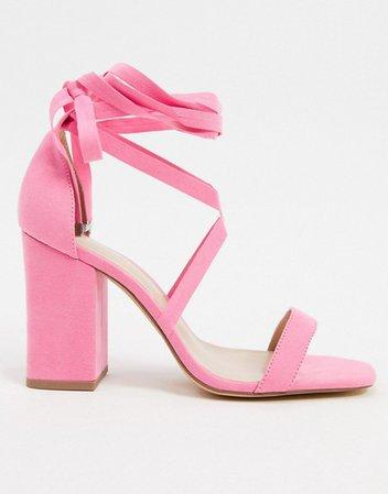London Rebel wide fit tie leg block heeled sandals in pink   ASOS