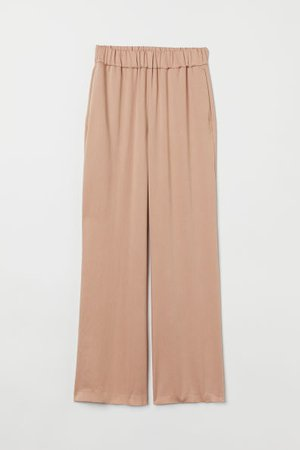 Wide-cut Lyocell-blend Pants - Black - Ladies   H&M US