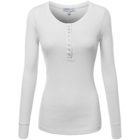 FPT Womens Long Sleeve Crewneck Thermal Henley T-Shirt in White