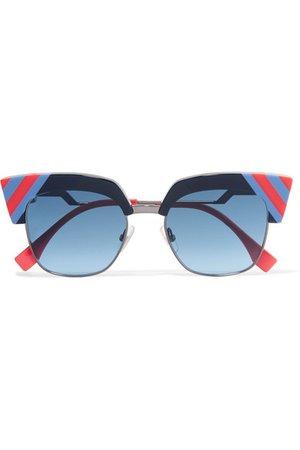 Fendi | Striped cat-eye acetate and gunmetal-tone sunglasses | NET-A-PORTER.COM
