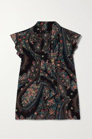 Black Tie-detailed ruffled paisley-print silk crepe de chine blouse | Etro | NET-A-PORTER