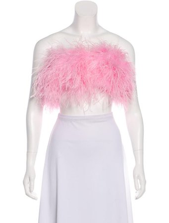 Adam Selman 2018 Ostrich Feather Bandeau Top - Clothing - WADMS20192   The RealReal