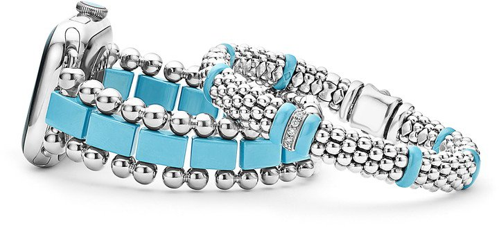 Smart Caviar Stainless Steel Watchband for Apple Watch(R) & Black Caviar Bracelet Set