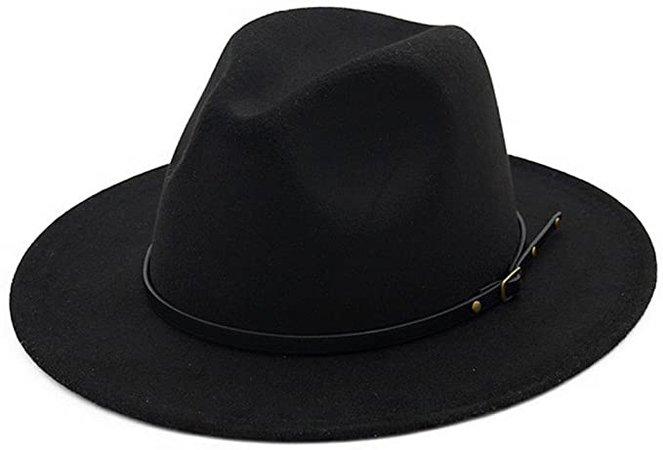 Lisianthus Women Belt Buckle Fedora Hat Black at Amazon Women's Clothing store