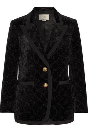 Gucci | Grosgrain-trimmed metallic velvet-jacquard blazer | NET-A-PORTER.COM