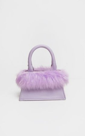 Purple Faux Fur Mini Bag | Accessories | PrettyLittleThing