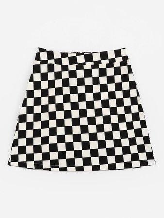 Zip Up Plaid Skirt | ROMWE