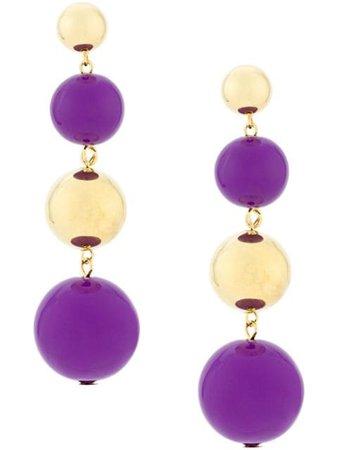Purple & gold Eshvi ball drop earrings - Farfetch
