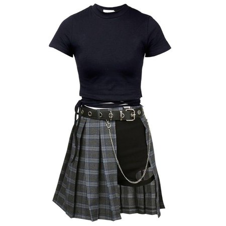 Gothic Harajuku Gray Plaid Skirt Shorts Belt Top – ROCK 'N DOLL
