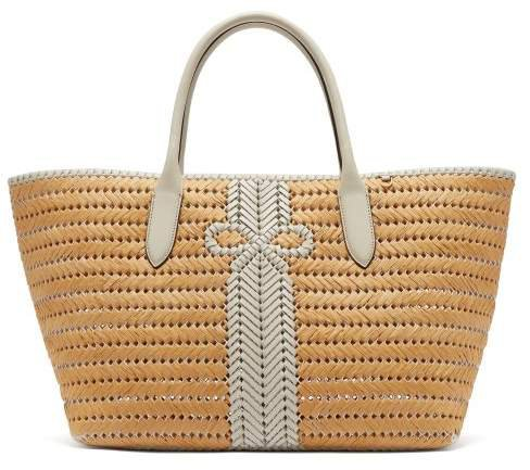 The Neeson Large Straw Basket Bag - Womens - White Multi