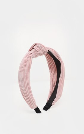 Pale Pink Pleated Knotted Head Band | PrettyLittleThing