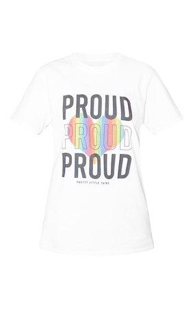 White Slogan Proud T Shirt | PrettyLittleThing USA