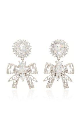 Rhodium And Crystal Bow Drop Earrings by FALLON | Moda Operandi