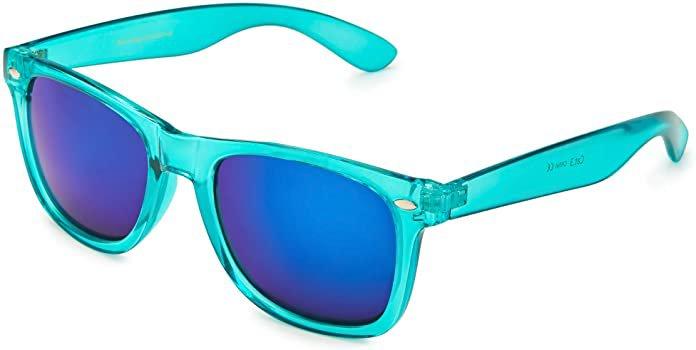 Amazon.com: Retro Rewind Translucent Frame Colorful Neon 80s Sunglasses for Men Women - Reflective Mirrored Lens: Clothing