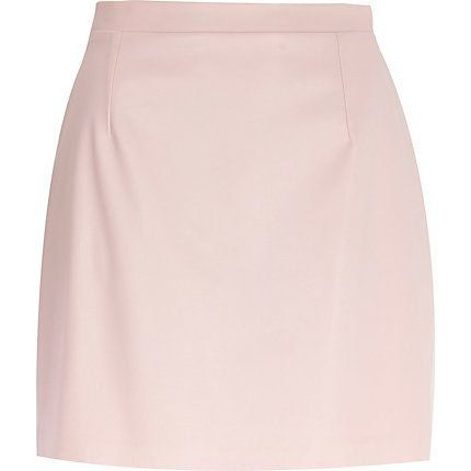 Light Pink Leather Mini Skirt