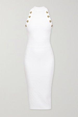 White Button-embellished pointelle-knit midi dress   Balmain   NET-A-PORTER