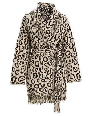 Alanui | Leopard Jacquard Wrap Cardigan | INTERMIX®