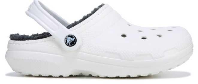 white/black fuzzy crocs