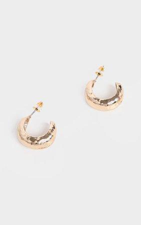 Gold Hammered Mini Hoop Earrings | PrettyLittleThing