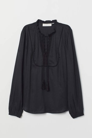 V-neck Blouse - Black