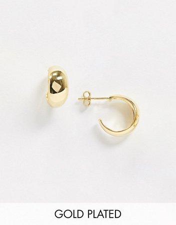 House of Freedom at Topshop gold plated huggie hoop earrings | ASOS
