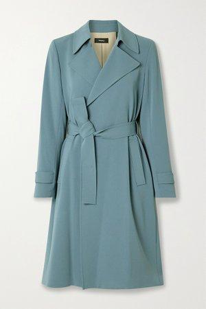 Light blue Oaklane belted crepe coat   Theory   NET-A-PORTER