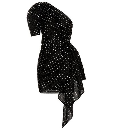 Polka-dot printed cotton minidress
