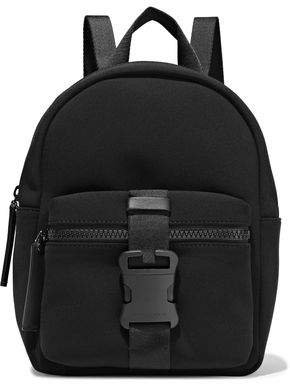 Leather-trimmed Buckle-detailed Neoprene Backpack