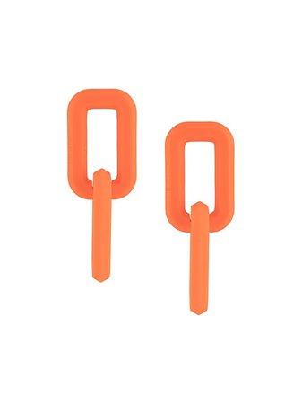 Orange Off-White chain-link design earrings OWOD047F20PLA0012000 - Farfetch