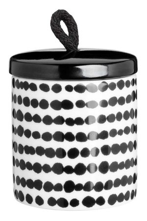 Cylindrical Jar - White/black dotted - Home All   H&M CA