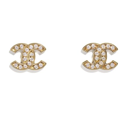 Metal & Strass Gold & Crystal Earrings   CHANEL