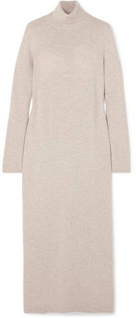 Wool And Cashmere-blend Turtleneck Dress - Beige